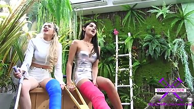Fetish-Concept.com - 2 Girls with Long Cast Leg visit a flower store Part 2