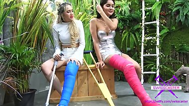 Fetish-Concept.com - 2 Girls with Long Cast Leg visit a flower store Part 1