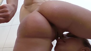 Teen Sucks Pussy Lips of MILF in Shower Makes her Pee