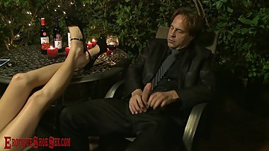 Candlelit wine high heel & foot sex session HOLIDAY PRESLEY & ERIC JOHN
