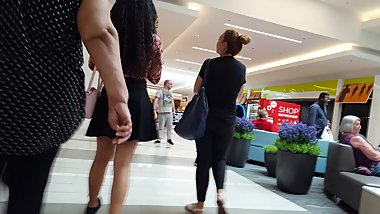 Candid voyeur exotic beauty teen black skirt shopping half shirt