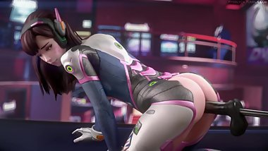 D.Va Anal With a Dildo Machine by FPSBlyck (Looped)
