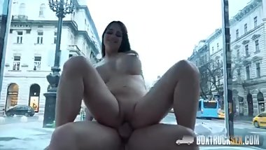 Amazing squirt in the public sex truck