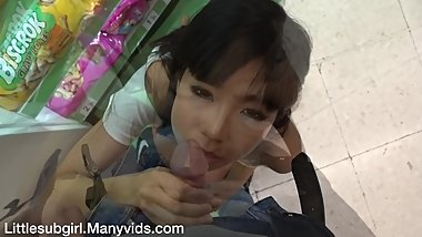 Public Facial And Cum Walk At Crowded Mall - Littlesubgirl