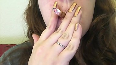Brunette Chubby Teen Smoking Goddess Smoking Red Cork Tip In Gold Lip Gloss