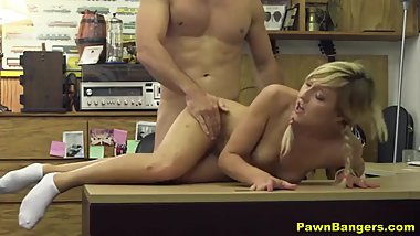 Cute Blonde Teen Babe Accepts Pawn Shop Boss Cash Offer To Fuck
