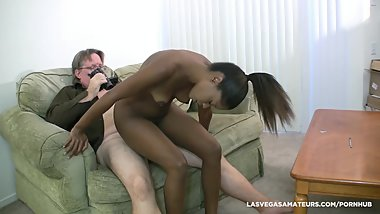 Ebony Slut Ashlynn Sixx Gets A Creampie Surprise During Her Porn Audition!!