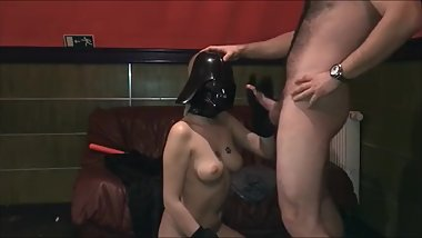Star Wars Fuck Darth Vader girl fucking and sucking with facial on mask