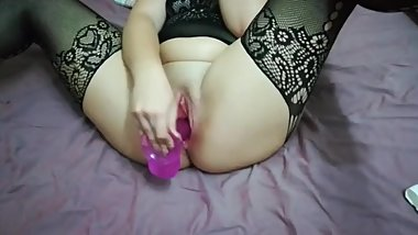 Sweet Pussy Takes Big Pink Dildo - Just a Tease