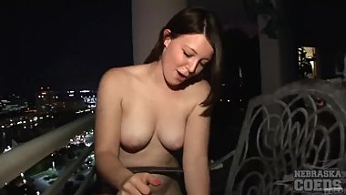 lexi fucking a jack o lantern balcony fetish food play for halloween