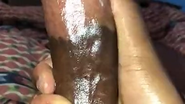 Stroking cum covered black cock until huge cum eruption (BIG CUMSHOT)