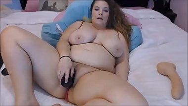 Busty bbw pussy and anal bbc dildo fuck on cam 036