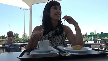 Flashing in a public cafe on a busy street, Masturbation and orgasm.