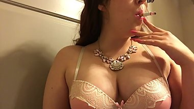 Chubby Teen with Natural Big Tits Smoking Cork Tip 100 Cigarette Pink Bra