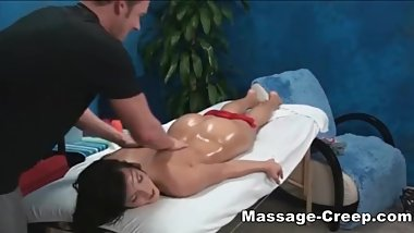 My petite sister has her first massage