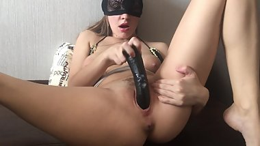 MMMM! THIS BIG BLACK DILDO MAKES MY PUSSY SO CREAMY!