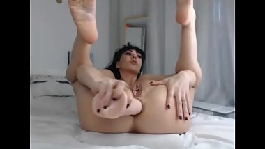 Solo masturbation big dildo in ass huge anal gape