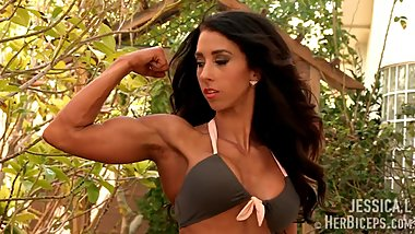 Jessica L In Bikini Flexing Her Muscles