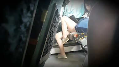 Little girl sexy feet on train (No dangling)