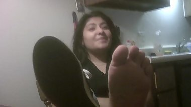 cute Sweaty latina feet and soles fresh out of shoes no socks