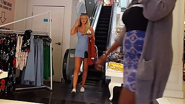 Candid voyeur blonde teen model blue dress