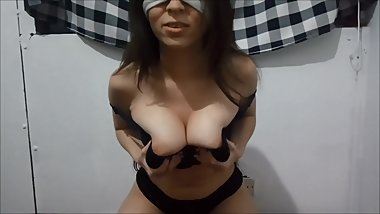 Sweet sport bra titjob with Thicci and her huge boobs
