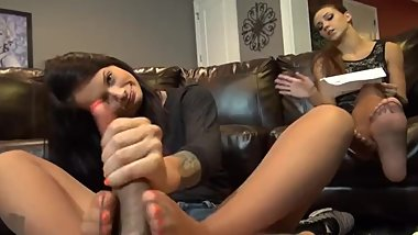 Nylon Footjob Babysitter Wife unaware