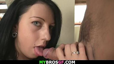 Cheating bitch riding BF's brother cock