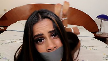TRAPPED TEEN IN BONDAGE STRUGGLES AGAINST ROPE AND TAPE GAG