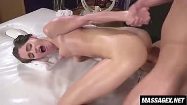 Oiled Masseuse Works Stiff Cock