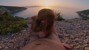 Sunset Ginger Blowjob  Redhead Girl Sucking Cock to Cum at Sunset Beach
