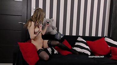 Home Alone Horny Teen Masturbating in the Living Room