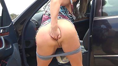 Brunette Cindy pissing and masturbation in public