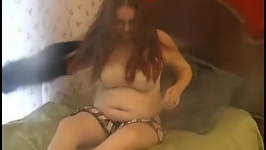 Horny Chubby redhead loves to play with her wet pussy