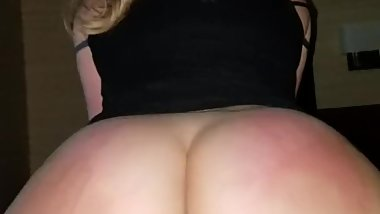 Big booty blonde amateur rides reverse cowgirl pov