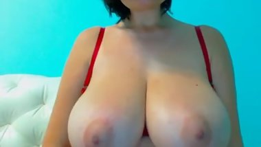 Curvy Latina in hot skin tight red dress showing her tits