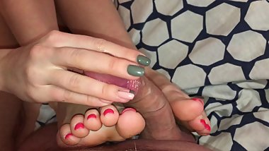 Beautiful Feet. Exciting Footjob And Foot Fuck. Cum on Soles & Toes.