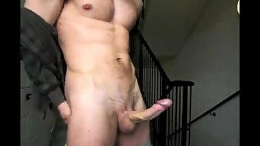 Masturbated his larger penis and finished right in the entrance of the hous