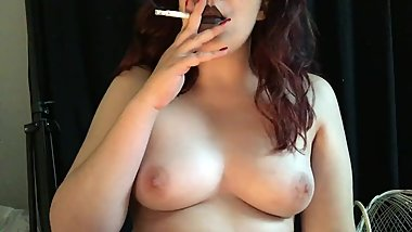 Topless Brunette Smoking Cork Tip Cigarette All Natural Tits Black Lipstick