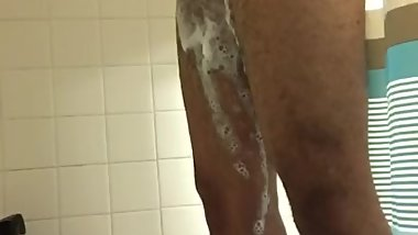 My fat uncut bbc cumshot in the shower