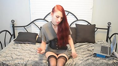 Sexy 420 Redhead Cumming and Smoking in Corset and Thigh High Stockings