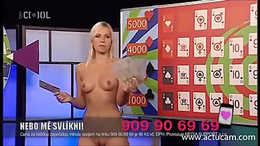 Blonde Czech slut Jenni naked on TV 02
