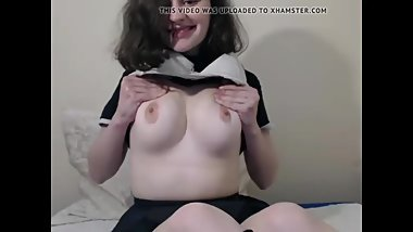 Cute Nerdy Teen Showing Perfect Tits and Playing with Pussy