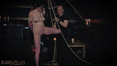 Rope bondage teen slapped and punished in sensual BDSM training