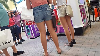 Candid voyeur teen and tight beige shorts