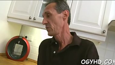 Horny young babe screwed by old guy